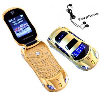 Newmind F15 Flip Unlocked Flashlight Dual Sim Cards Mp3 Mp4 Super Small Cellphone Car Shape Model Mini Mobile Student Cell Phone