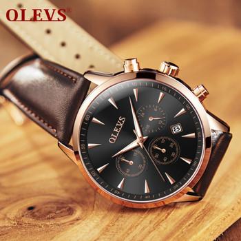 OLEVS Watch Men Watches relogio masculino Leather Belt strap sport Fashionable Luxury Famous brand Waterproof erkek kol saati