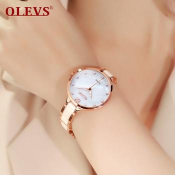 OLEVS Ceramic Dress Women Watch Luxury Rose Gold Ladies Wristwatches Japan Imports Quartz Movement Watches Relogio Feminino New