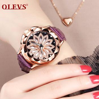 OLEVS Woman Watches 2018 Top Brand Luxury Ladies Fashion Clock Quartz Watches Relogio Feminino Dial Rotate Watches bayan saat