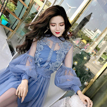 Stand-Neck Long-Sleeved Party Dresses Women Sweet Mesh Streetwear Mid-Calf Dress Female 2018 Summer Lace Dress Vestidos