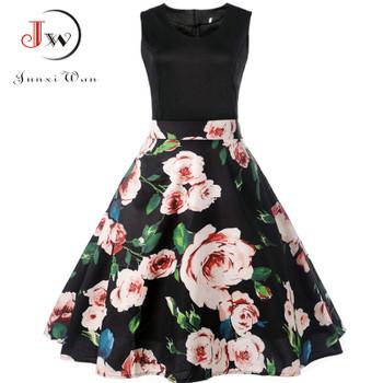 V Neck Sexy 2018 Summer Dress Women Floral Print Patchwork Vintage Dress  Hepburn 50s Elegant Party . c23a4fabfe35
