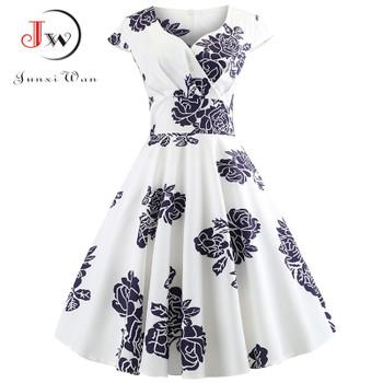 Casual Summer Dress Women 2018 Short Sleeve Hepburn 50s 60s Vintage Elegant Swing Party Dresses Plus Size Floral Slim Vestidos