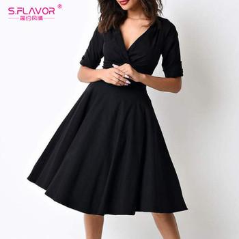 S.FLAVOR women V-neck vintage A-line dress 2018 hot sale sexy black knee-length Autumn dress Elegant waist vestidos de festa