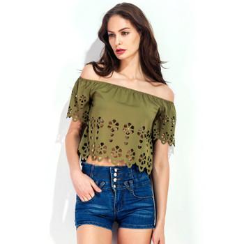 2018 Summer Women Crop Tops Solid Elegant Women Short Blouses Slash Neck Off Shoulder Hollow Out Sexy Women Blouse Shirt