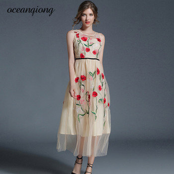 2018 Long Summer Dresses Newest Fashion Mesh Maxi Dresses Women Elegant Sleeveless O Neck Flower Floral Embroidery Vintage Dress