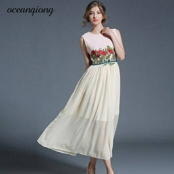 2018 Long Maxi Dress Women European Fashion O Neck Floral Embroidery Summer Chiffon Dress Sleeveless Beach Ladies Sundress