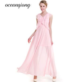 Floral Women Dress Lace Fashion V Neck Long Maxi Dress Sexy Ruffles Sleeveless Causal Plus Size Chiffon Party Dresses Vestidos