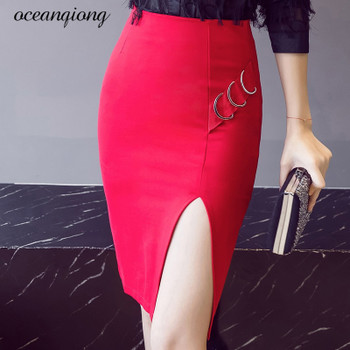 Women Skirt 2018 Midi Bodycon Office Lady Split Iron Rings Knee Length High Waist Stretch Sexy Pencil Skirt Jupe Femme Red Black
