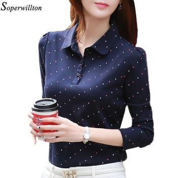 100% Cotton Shirt Work Wear Women Lady Blouse Office 2018 Autumn Winter Plus Size Top Polka Dot Long Sleeve Female Clothing G06