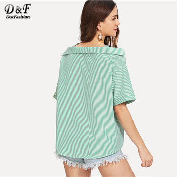 17ce7c89b2a Dotfashion Open Shoulder Contrast Panel Cotton Shirt Women Casual Summer  Straps Half Sleeve Tops Ladies Striped