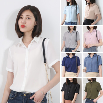 f721f430583 EYM Brand Summer Blouses Women 2018 New Women Shirt Fashion Casual Solid  Color Short Sleeve Chiffon