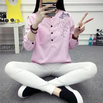 2017 Spring New Fashion Elegant Tops Korean Style Blouse Long Sleeve Chiffon Shirt Female Wear Casual Women Striped Shirt 710B30