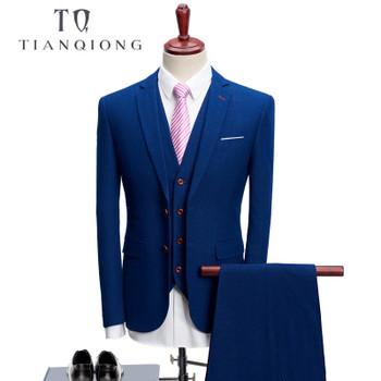 TIAN QIONG 2018 Business Men Suits for Wedding Party Suit Slim Fit for Men Notch Lapel 3 Pieces Mens Suits (Jacket+Vest+Pants )