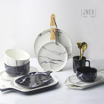 Creative Design European Style Marble Pattern Ceramic Tableware Porcelain Plate Dish Platter Bowl Cutter Board Dinnerware Set