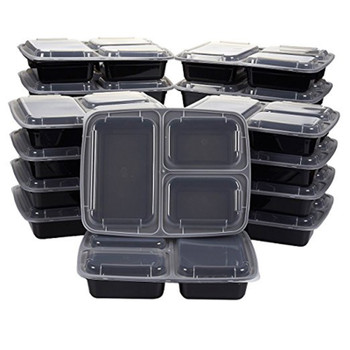 10Pcs Reusable Meal Prep Bento Box Container 3 Compartment with Lids with Lids Food Storage Container Lunch Box For Microwave