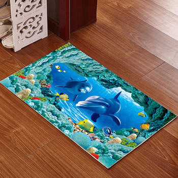 3D Printed Bathroom Memory Foam Rug Kit Non-slip Bath Mats Floor Carpet Ped Pad Large Size Door Floor Seat Mattress for Decor