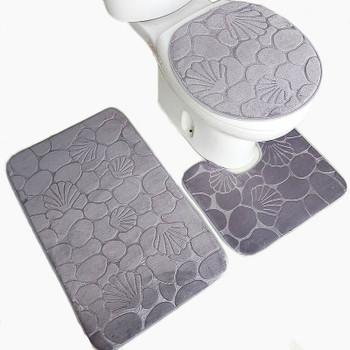 3pcs Anti-slip Bath Rug Toilet Mats Set Soft Absorbent Bathroom Carpet Pedestal Pan Toilet Lid Seat Cover Closestool Pad