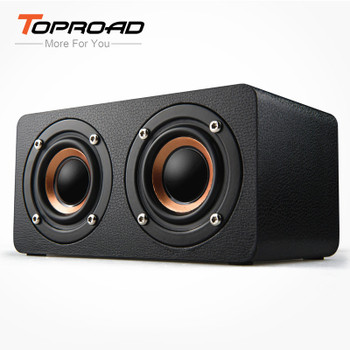 TOPROAD Portable Bluetooth Speaker Wireless 4.0 Dual Bass Stereo Speakers Outdoor Wooden Sound Box With FM Radio for Phone PC