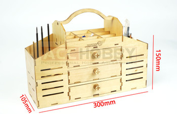 DIY Wooden Toolbox Building Kit Perfect for Tools Knife,File,Pin,Glue,Sandpaper,Clamp,Pencil,Ruler and Protractor