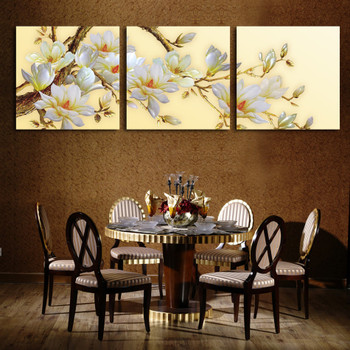 3 Panel Modern 3D white orchid Flower Painting On Canvas Wall Art Cuadros Flowers Picture Home Decor For Living Room No Frame