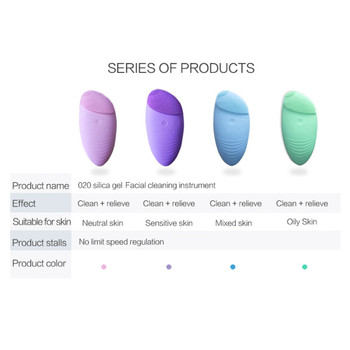 Facial Cleansing Brush Sonic Vibration Mini Face Cleaner Silicone Deep Pore Cleaning Electric Waterproof Massage