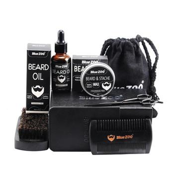 Men Beard Oil Kit With Beard Oil,Wax,Comb,Brush,Bag,Beard Cream Scissors Grooming Trimming Male Styling Shaping Moisturizing Set