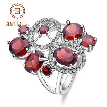 GEM'S BALLET Natural Garnet Genuine 925 Sterling Silver Gemstone Rings Flowers Trendy for Women Romantic Gift Fine Jewelry