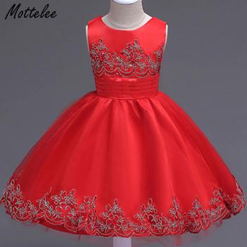 Mottelee Girls Dress Mesh Flower Children Party Dresses Baby Wedding Ball Gown Birthday Kids Frock Christening Clothing for Girl
