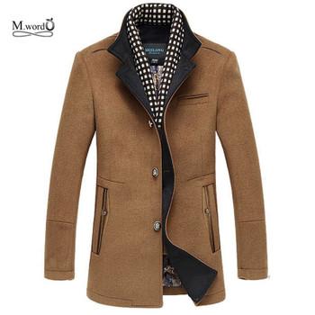 2018 New Winter Men Splice Woolen Jacket plus thick outerwear Mens Middle long jacket Coat Winter warm Overcoat