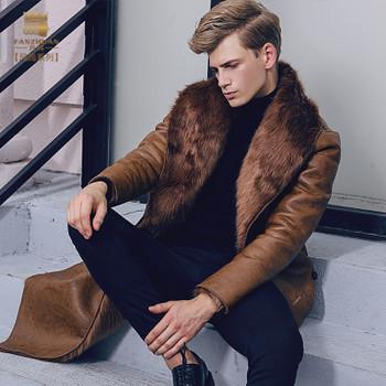 fanzhuan New 2017 fashion male Men's slim warm coat winter Fur thickening PU leather velvet 710129 Hair collar