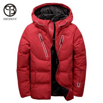 Asesmay luxury men winter jacket white duck down parka casual goose feather men's winter coat hood thick warm waterproof jackets
