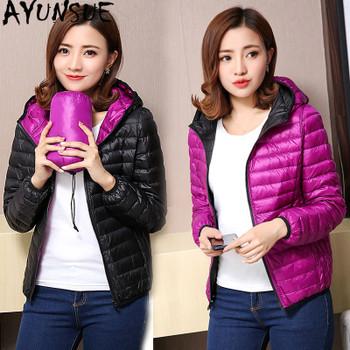 AYUNSUE Women's Jackets Ultra Light Down Jacket Women 2018 New Autumn Winter Coat Jackets For Women Two Side female jacket KJ530