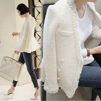 Zarachiel 2018 Brand Lady Winter Pearls Tassels Woolen Jacket Coat Women Vintage Casaco Femme Warm Tweed Jacket Elegant Overcoat
