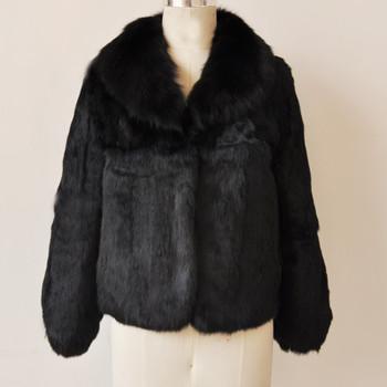 2018 New Fashion Whole Skin Rabbit Fur Jacket with Luxury Real Fox Fur Coat Customize Plus Size Low Discount Factory Fur KSR31