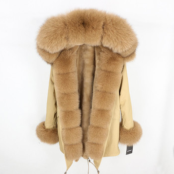 OFTBUY 2018 fashion winter jacket women real fur coat natural real fox fur collar loose long parkas big fur outerwear Detachable