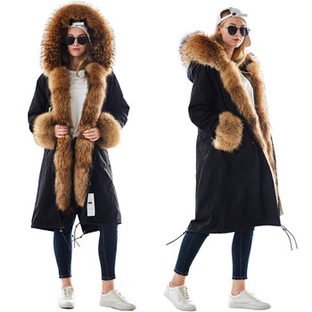 MAOMAOKONG plus size winter natural raccoon parkas black raccoon fur lining X long jacket coat
