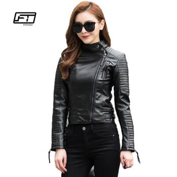 Fitaylor Autumn Women Punk Leather Jacket Soft PU Faux Leather Female Jackets Basic Bomber Leather Coats