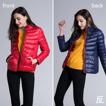 FURANDOWN Winter Womens Two Side White Duck Down Jacket Warm Winter Coats Parkas Lightweight Down Jackets
