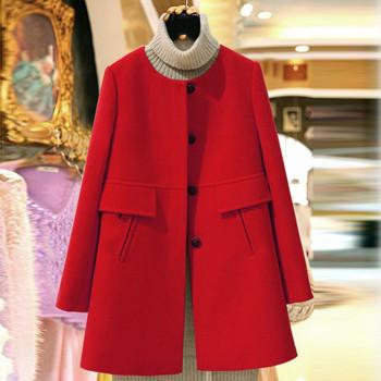 Women Autumn Winter Wool Blend Outerwear Warm Long  Slim Fit O Neck Coats Pockets Female Plus Size Woolen Blends Overcoat