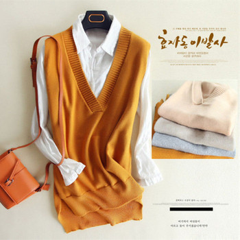 zocept 2018 Spring Women's Knitted Wool Big V Neck Vest Long Tail New Match Female Sweater Outerwear Women's Sleeveless Pullover