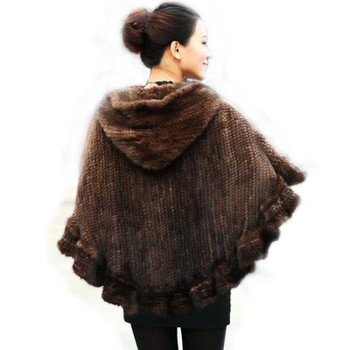 Fashion Women Fur Shawl Winter Knitted Real Mink Fur Stole With Fur Hood Knitted Mink Poncho Pashmina
