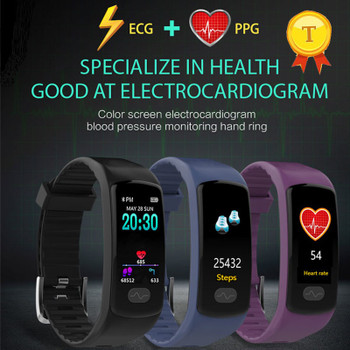color screen ECG PPG Smart Bracelet Heart Rate Monitor Fitness Tracker Smart Wristband Blood Pressure Smart Band for ios android