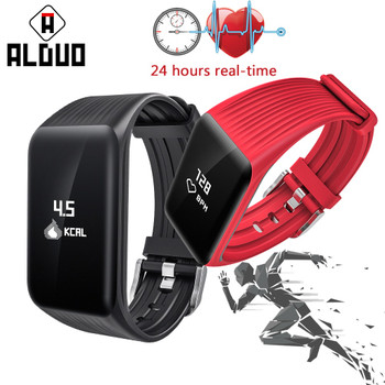 ALANGDUO Smart Bracelet 24 Hours Real-time Heart Rate monitor Fitness Watch IP68 Waterproof Sports Bluetooth Tracker Wristband