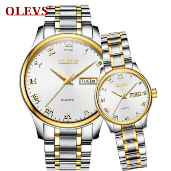 OLEVS 2018 Luxury Brand Lover Watch Women Waterproof Couples Watches Female Wristwatches Quartz Men Stainless Steel Watch 1Pair