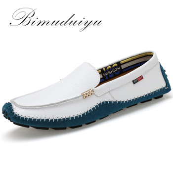 Big Size High Quality Genuine Leather Men Shoes Soft Moccasins Fashion Brand Men Flats Comfy Casual Driving Boat38-47