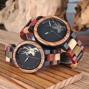 BOBO BIRD Couple Wooden Watches Men Women Quartz Lover's Wrist watch Ladies Elk Deer Quartz Wrist Watch gift erkek kol saati