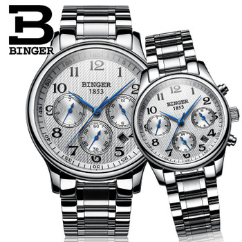 2017 Switzerland watches lover's luxury brand BINGER men and women sapphire Waterproof Mechanical Wristwatches B-603MW