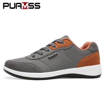2018 Autumn New  Men Shoes Lace-Up Men Fashion Shoes Microfiber Leather Casual Shoes Brand Men Sneakers Winter Men FLats