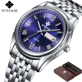Men Watches Luxury Brand Day Date Luminous Hour Clock Silver Steel Strap Casual Quartz Watch Men Sports Wrist Watch Male
